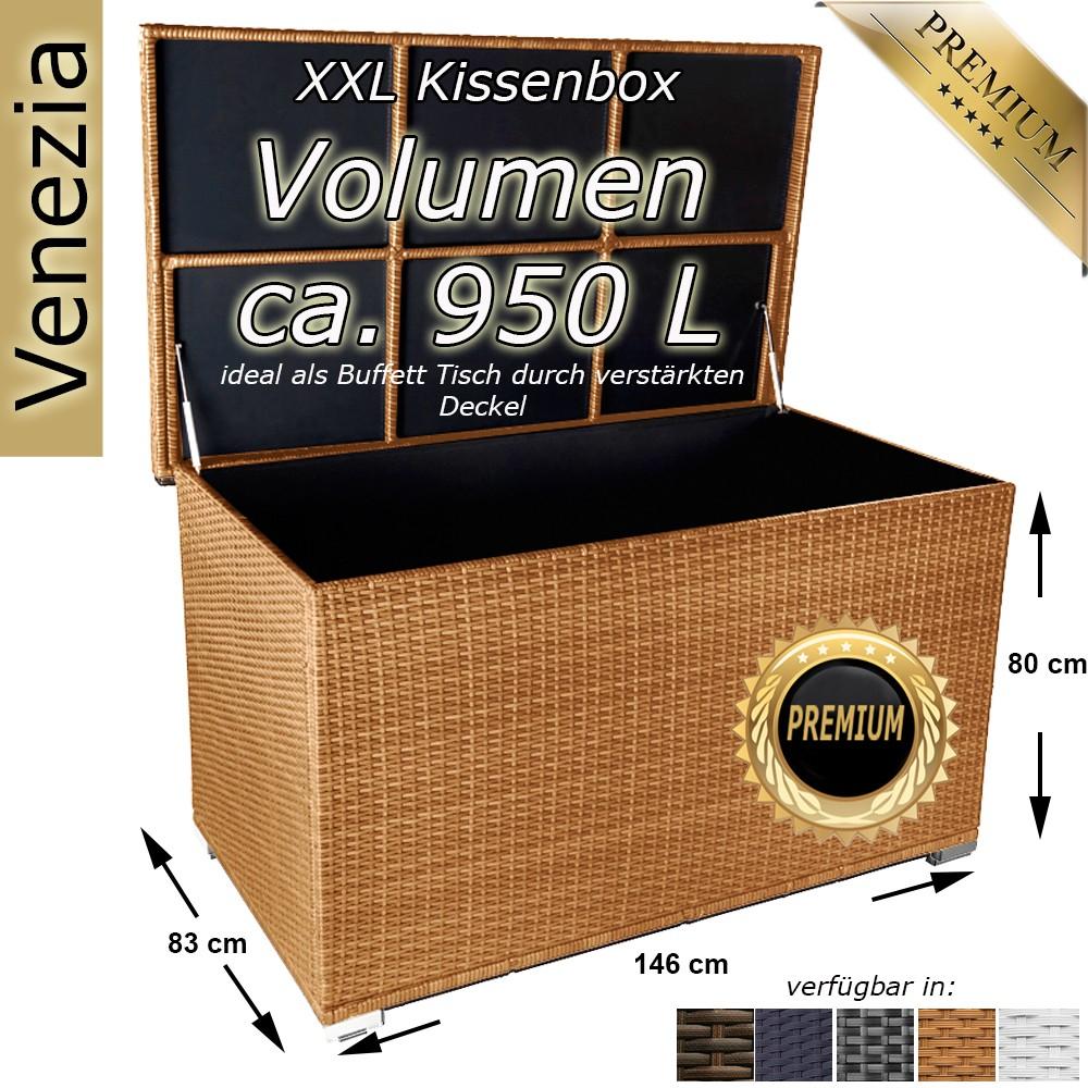 xxl kissenbox 950l auflagenbox gartenbox gartentruhe poly rattan liege auflage ebay. Black Bedroom Furniture Sets. Home Design Ideas