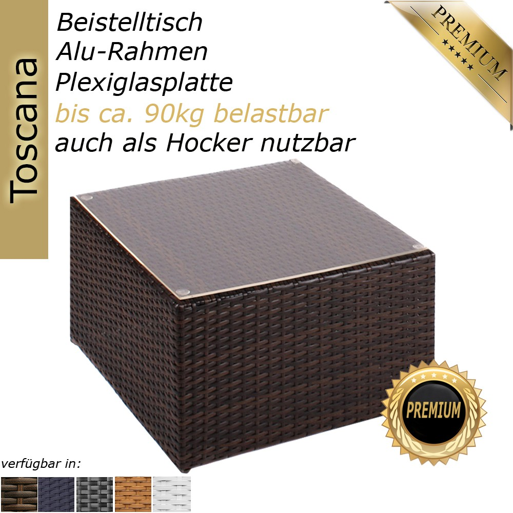 rattan beistelltisch hocker tisch polyrattan liege sonnenliege gartenm bel ebay. Black Bedroom Furniture Sets. Home Design Ideas