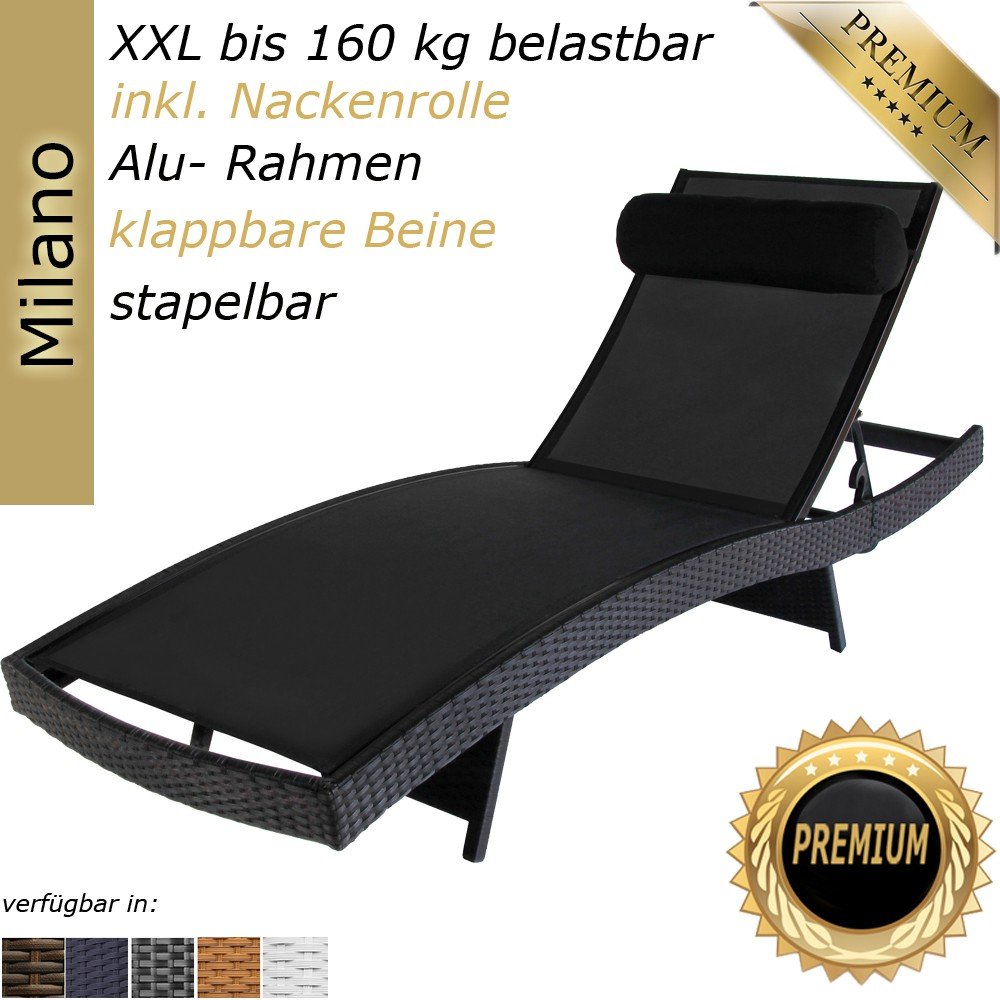 sonnenliege milano farbe schwarz gartenm bel rattan. Black Bedroom Furniture Sets. Home Design Ideas