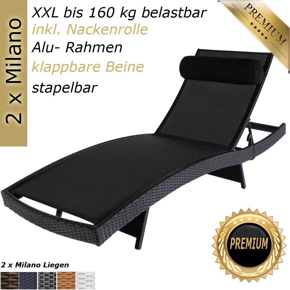 2x 160 kg tragf poly rattan gartenliege sonnenliege liegestuhl liege schwarz ebay. Black Bedroom Furniture Sets. Home Design Ideas