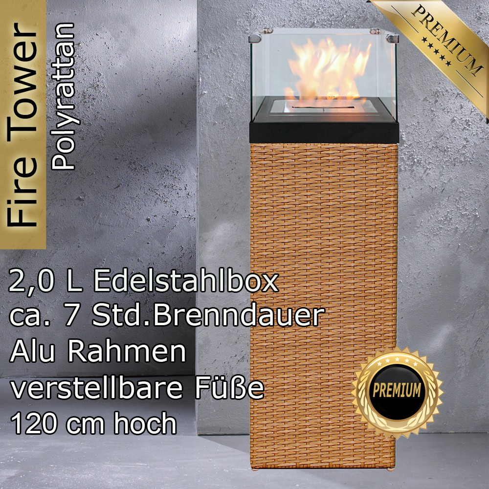 Gartenmobel Aus Rattan Kunststoff : Feuersäule Natur GartenmöbelRattan Feuersäule